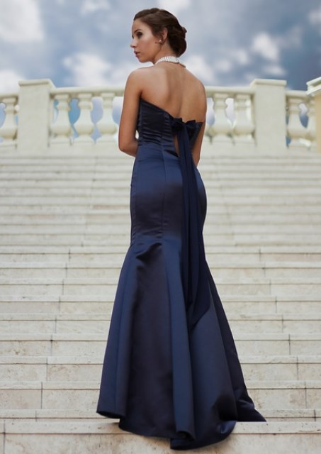 a blue evening dress
