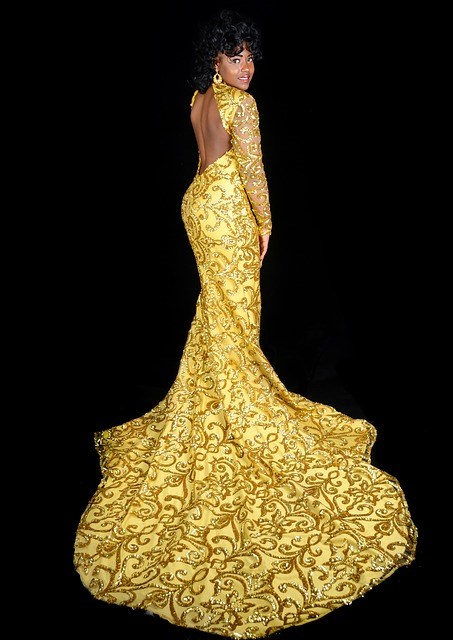 a golden evening dress
