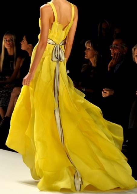a yellow evening dress