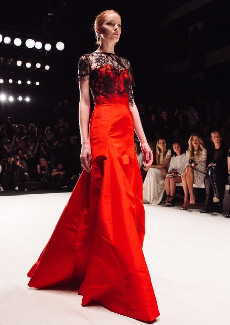 a red evening gown
