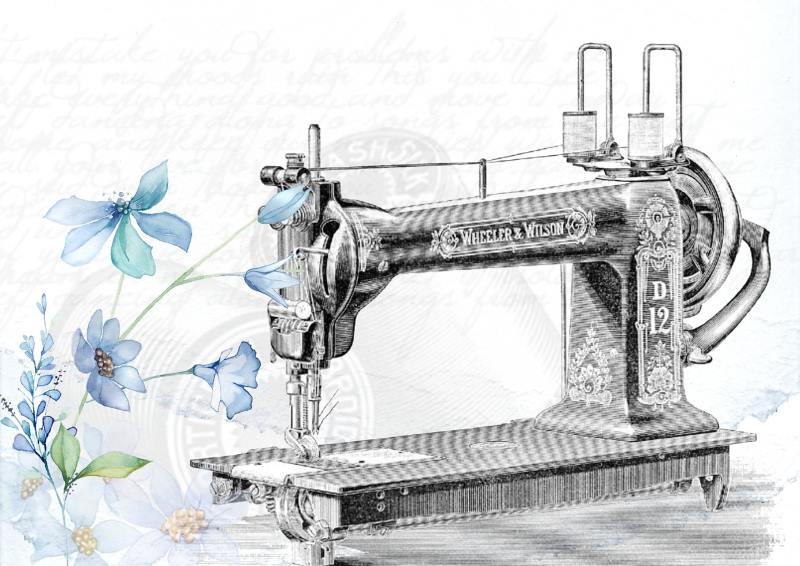 a sketch of an old sewing machine